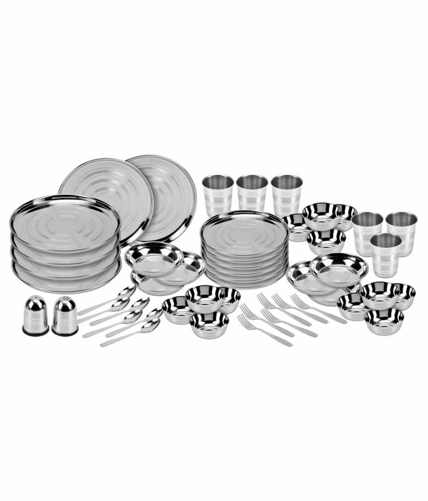 Kitchen Pro Stainless Steel Dinner Set - 50 Pcs - Heavy 24 Gauze