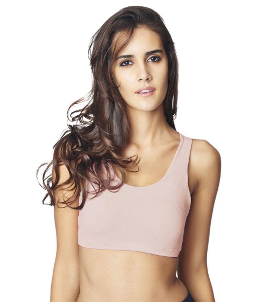 Restless Pink Polyamide Sports Bra