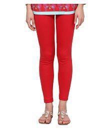 FashGlam Cotton Red Ankle Length Leggings