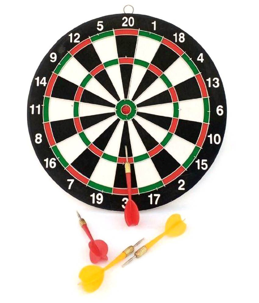 Parteet Multicolour Plastic Double Side Dart Board Game with 6 Darts
