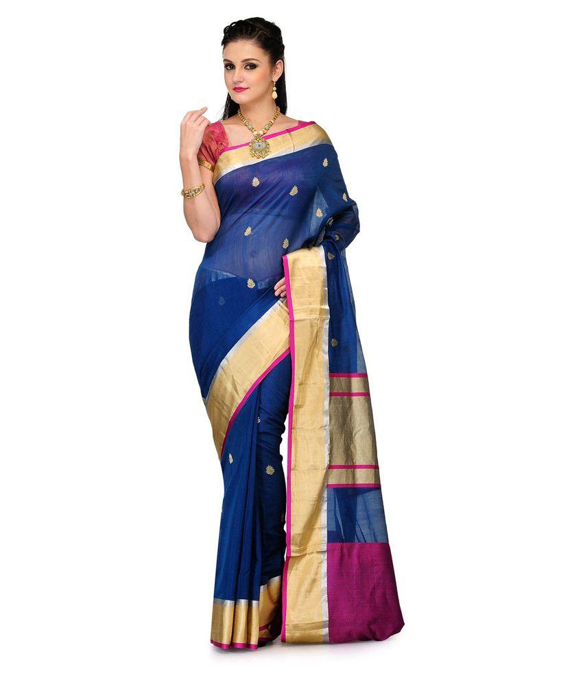 Fabroop Blue Cotton Silk Saree