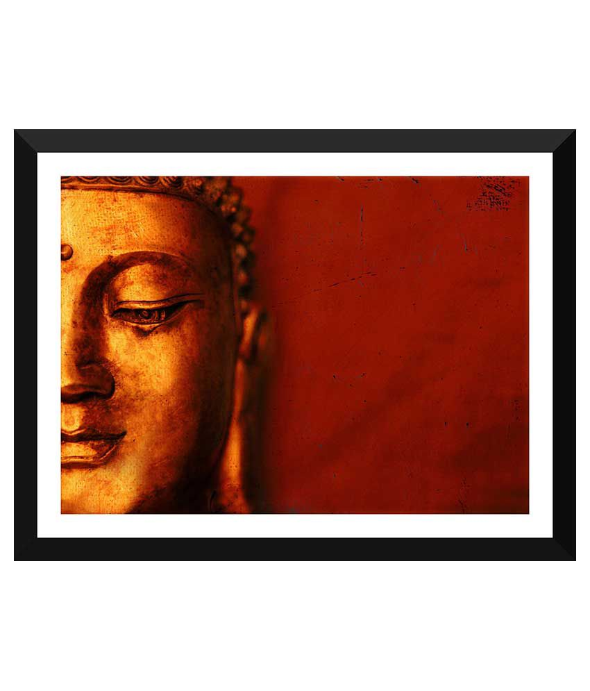 Tallenge Buddha Art Paper Art Prints With Frame Single Piece