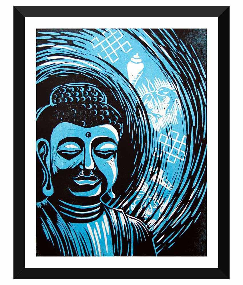 Tallenge Buddha Art Paper Art Prints With Frame Single Piece