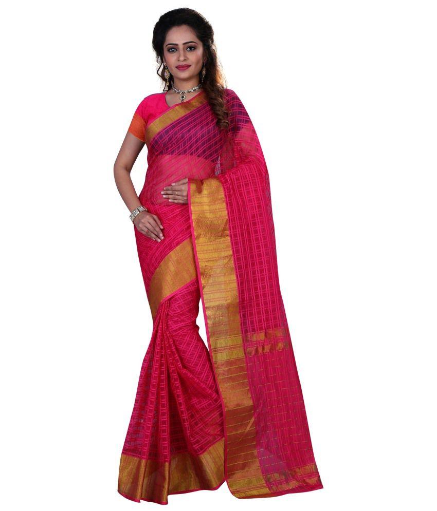 Anu Fashion Pink Art Silk Saree