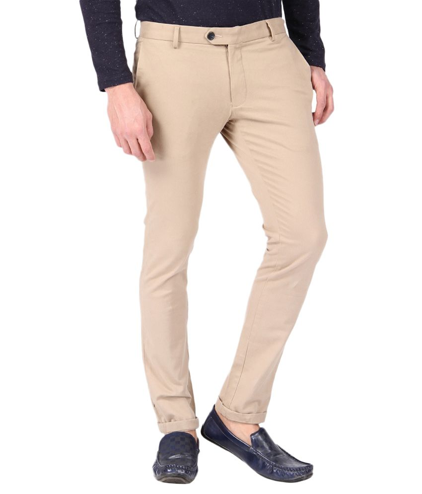 BLACKBERRYS Beige Slim Fit Formal Trousers