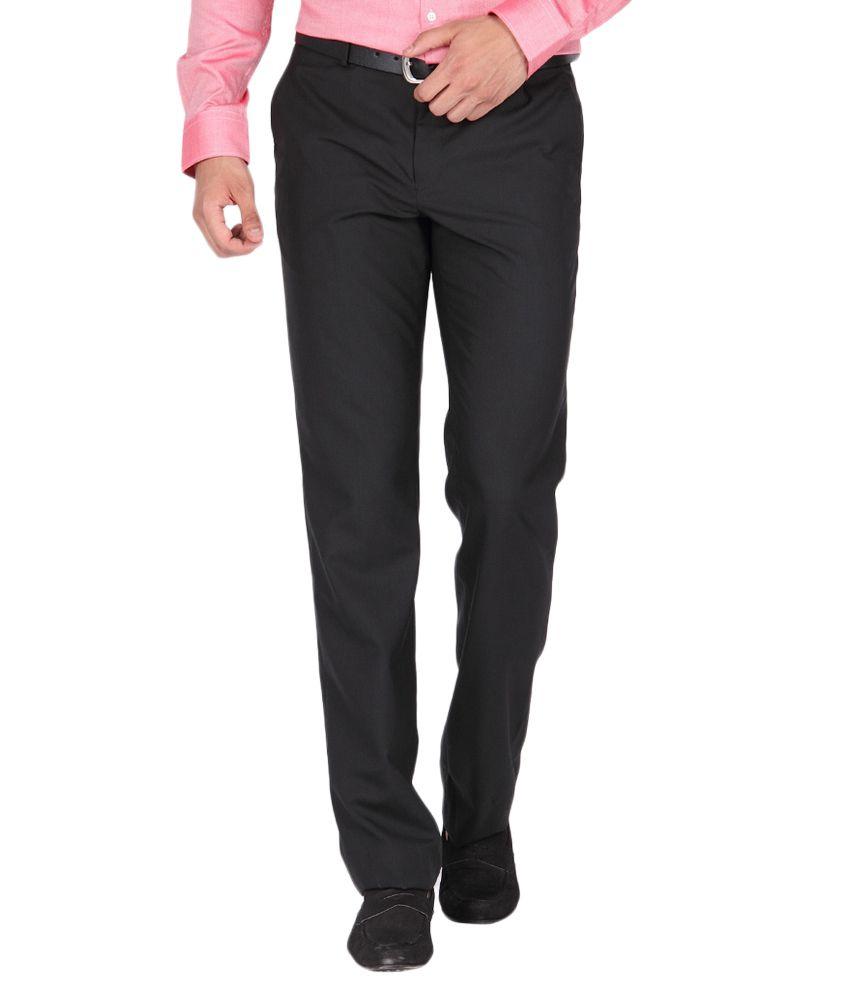 BLACKBERRYS Black Regular Fit Formal Trousers