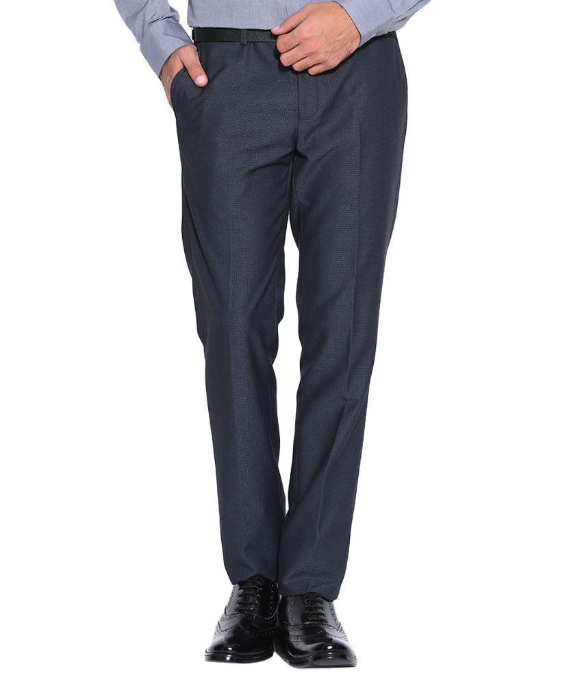 BLACKBERRYS Blue Slim Fit Casual Trousers