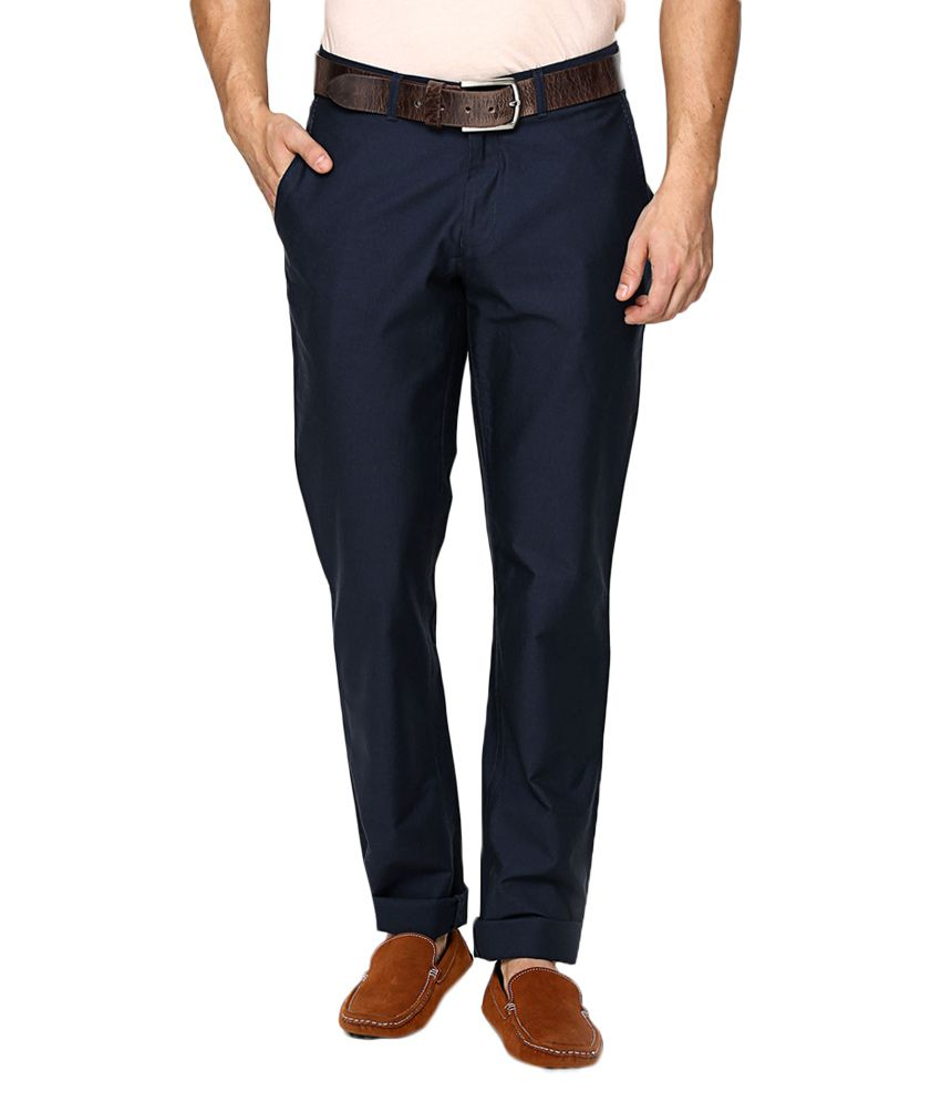BLACKBERRYS Navy Blue Regular Fit Formal Trousers