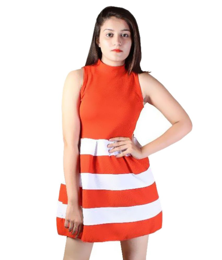Paris Plush Orange Polyester Dresses