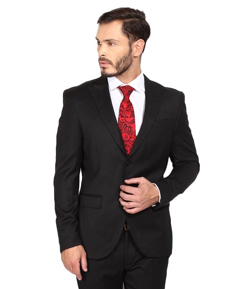 BLACKBERRYS Black Regular Fit Single-Breasted Suit
