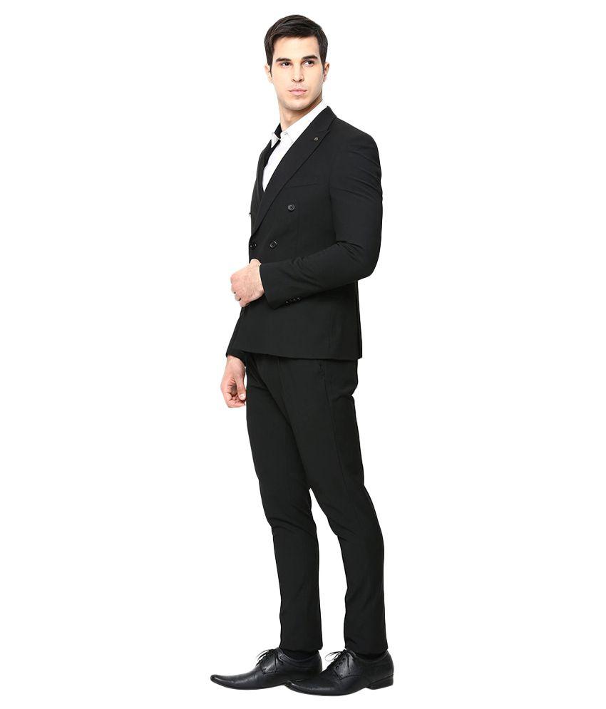 BLACKBERRYS Black Slim Fit Double-Breasted Suit - Buy BLACKBERRYS ...