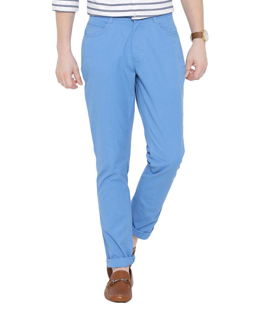 BLACKBERRYS Blue Skinny Fit Casual Trousers