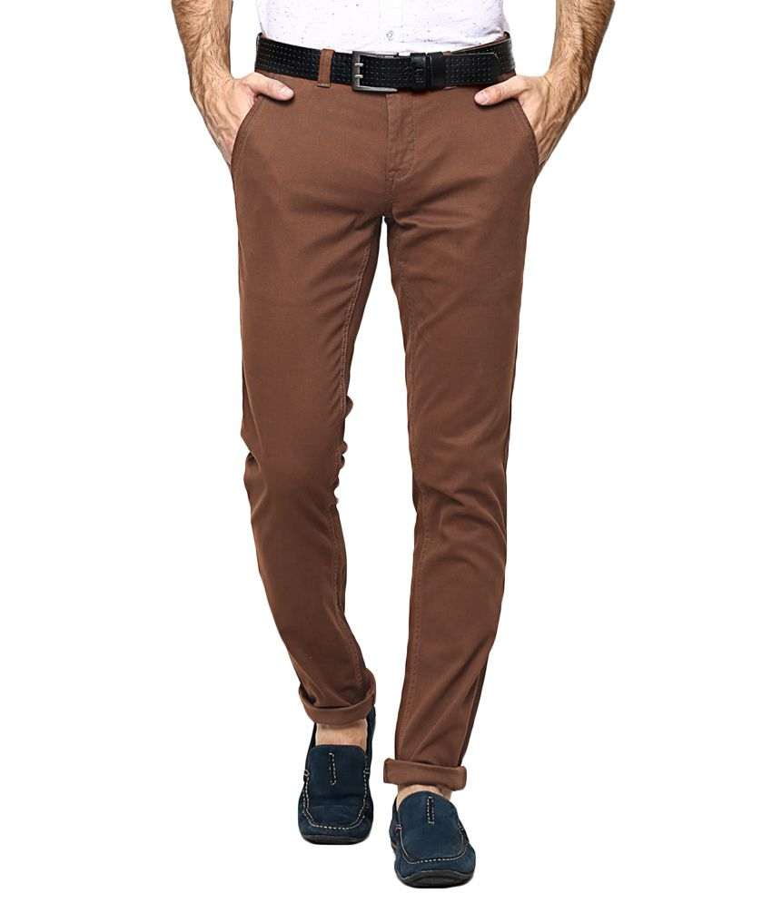 BLACKBERRYS Brown Skinny Fit Casual Trousers