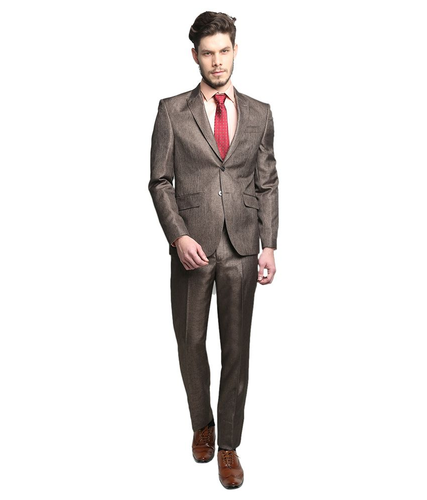 BLACKBERRYS Brown Slim Fit Single-Breasted Suit