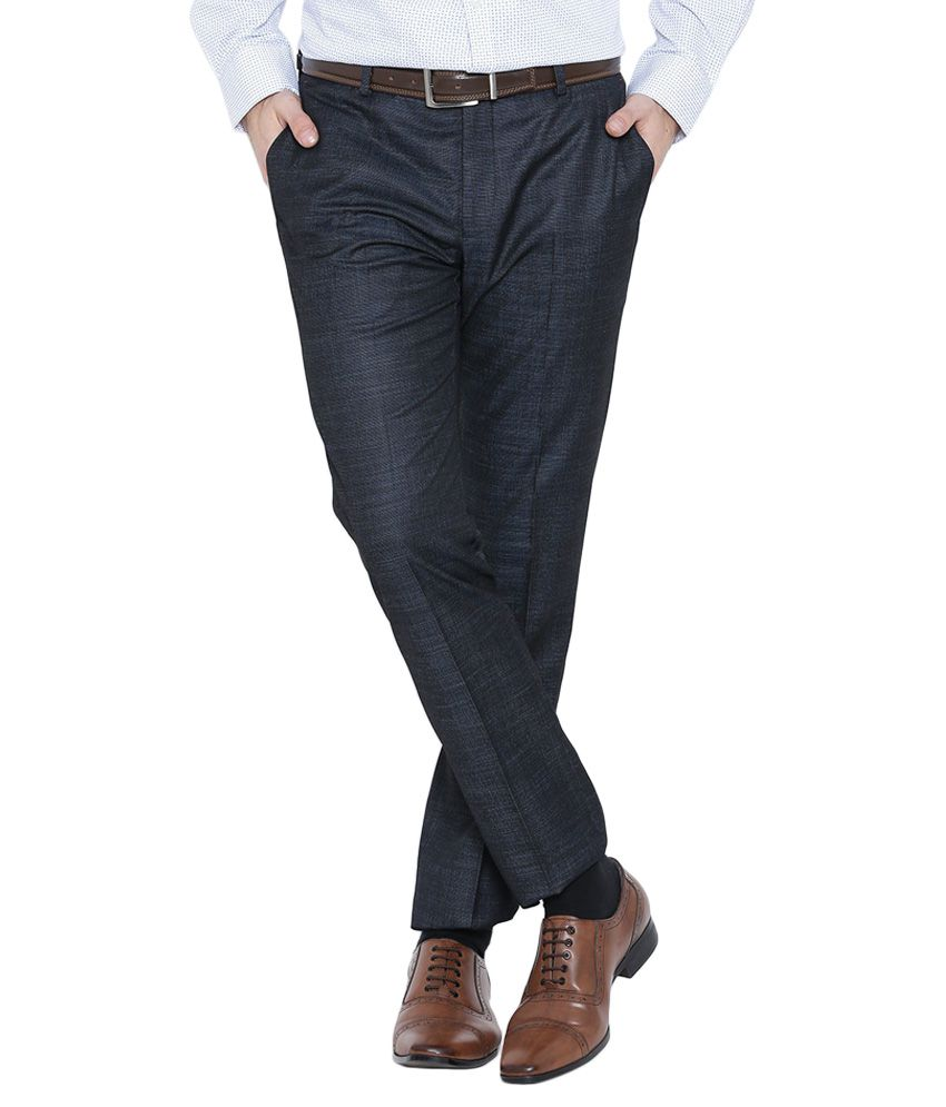 BLACKBERRYS Navy Blue Skinny Fit Casual Trousers