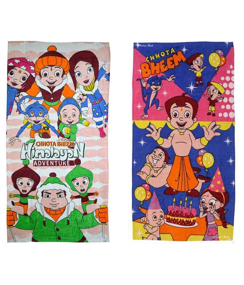 Chhota Bheem Multi Cotton Bath Towels 2 Kids Bath Towel