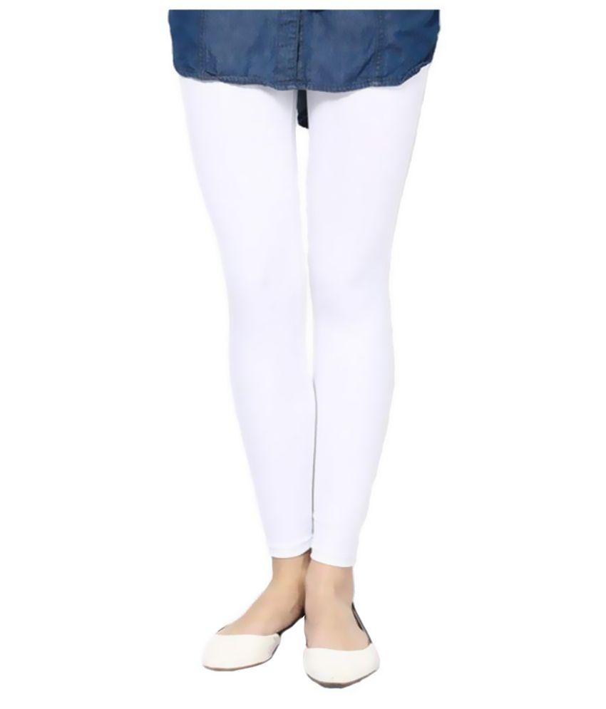 Fashglam Cotton Ankle Length Leggings - White