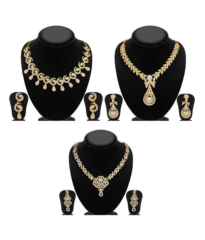 Sukkhi Zinc Gold Plated Australian Diamond Golden Necklace Set of 3