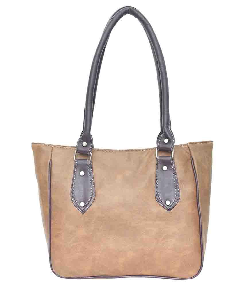 Exel Bags Brown Faux Leather Shoulder Bag