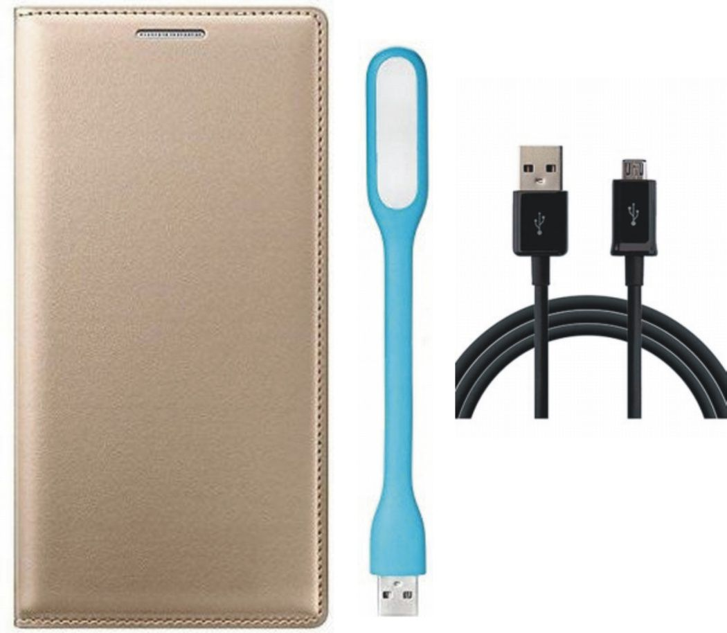 Matrix Flip Cover for Micromax Canvas Nitro 4G E455 with LED Light and USB Data Cable