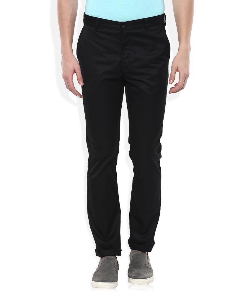 Parx Black Slim Fit Casuals Trousers