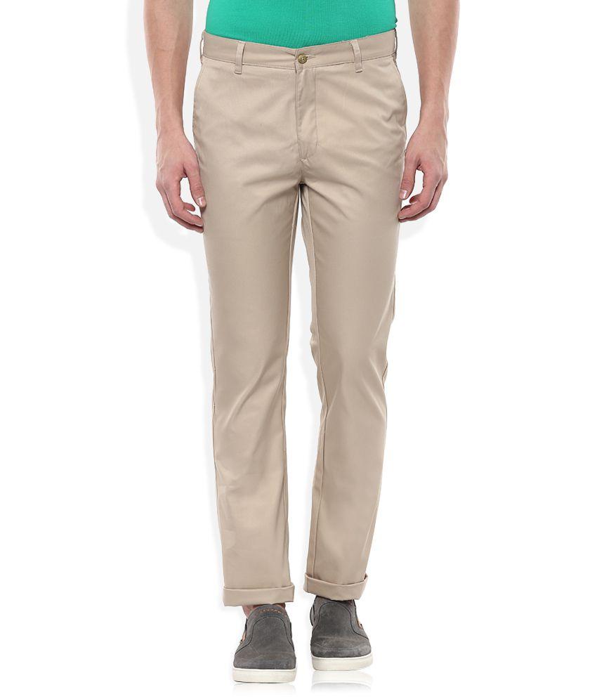 Parx Beige Slim Fit Casuals Trousers