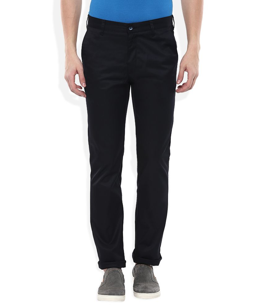 Parx Navy Blue Blue Slim Fit Casuals Trousers