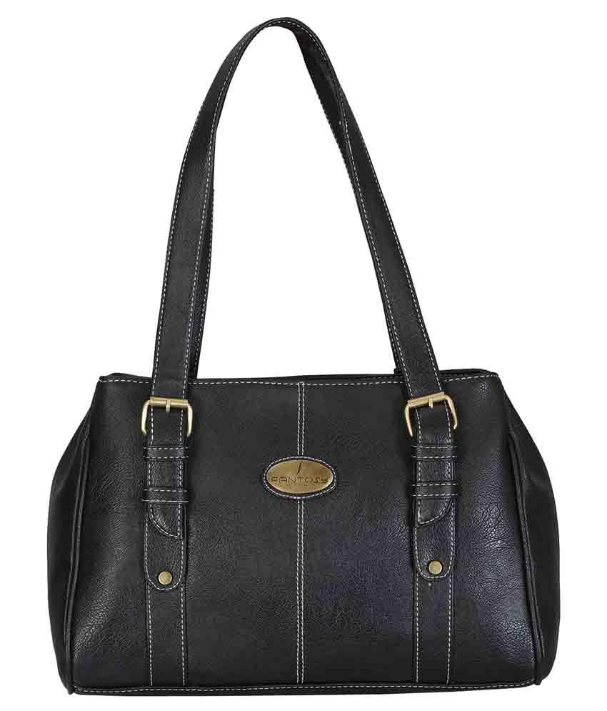 Fantosy Black Faux Leather Shoulder Bag