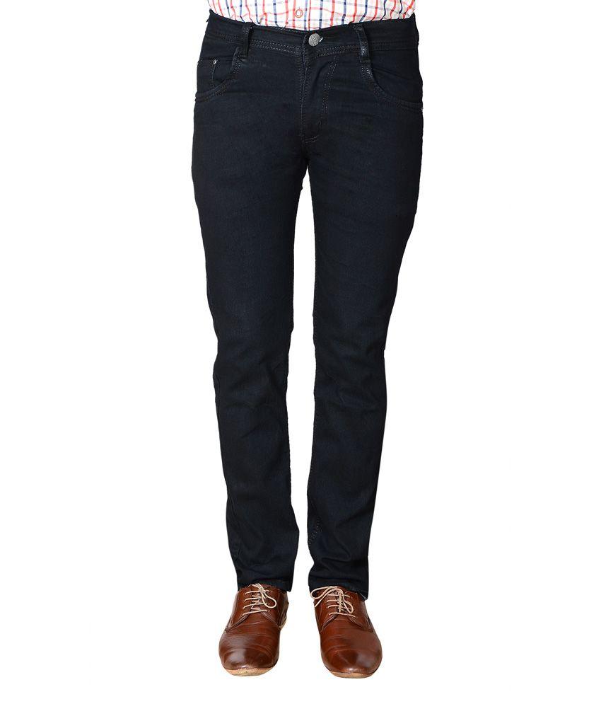 Flyjohn Black Slim Fit Stretchable Cotton Jeans