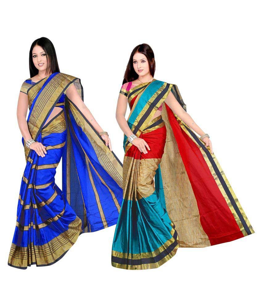 1dda99ab5 7 Brothers Blue and Beige Cotton Silk Saree Combos - Buy 7 Brothers Blue  and Beige Cotton Silk Saree Combos Online at Low Price - Snapdeal.com