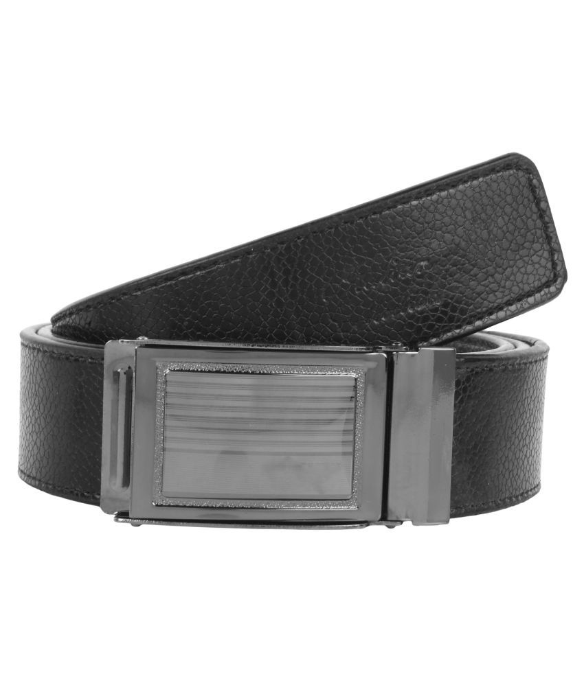 Bersache Black Faux Leather Formal Belts