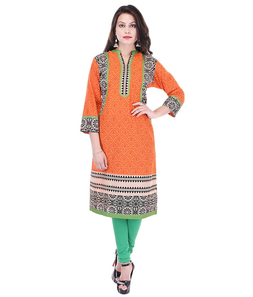 Artisan Creation Orange Cotton Straight Kurti