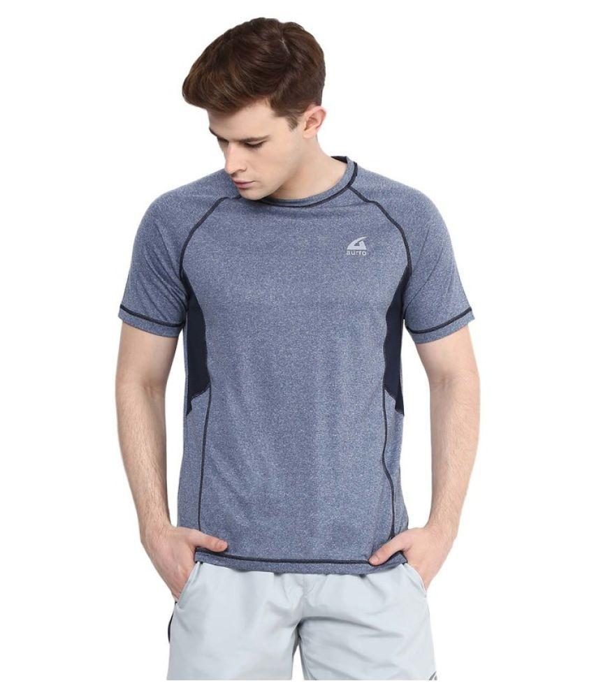Aurro Sports Blue Round T-Shirt