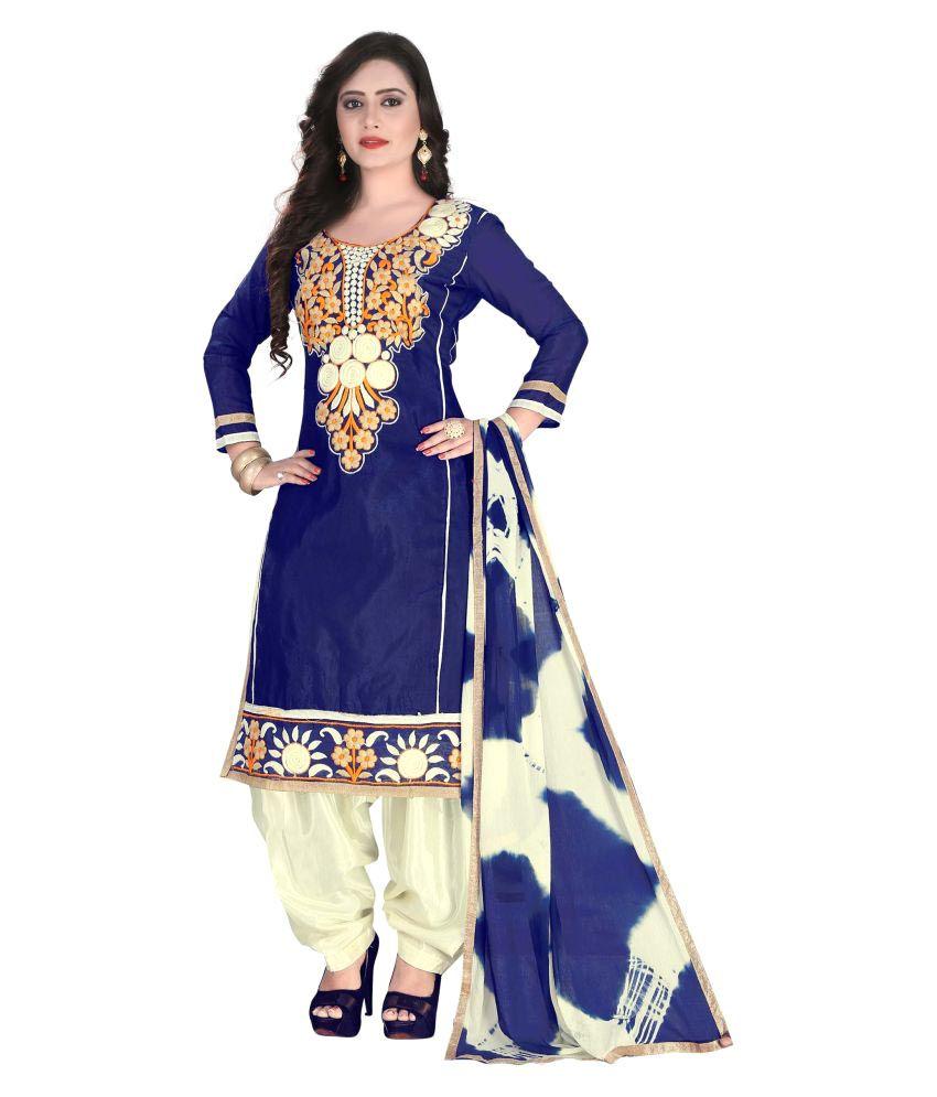 Tulsi Trendz Navy Blue Chanderi Straight Unstitched Dress Material
