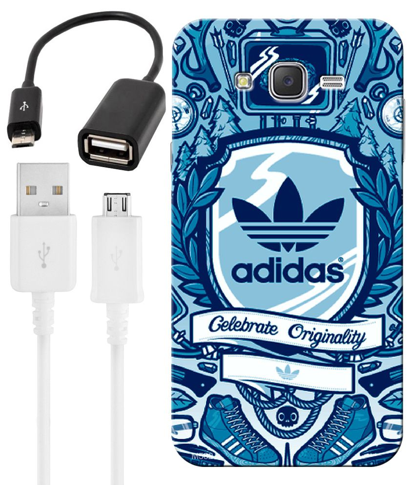 FineArts Combo of Adidas wallpaper HD UV Printed Mobile Back Cover, Charging Cable and OTG Cable For Samsung Galaxy Grand 2