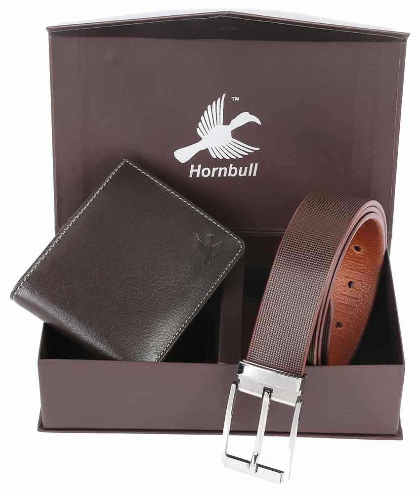 Hornbull Brown Leather Wallet & Belt Diwali Gift Set for Men