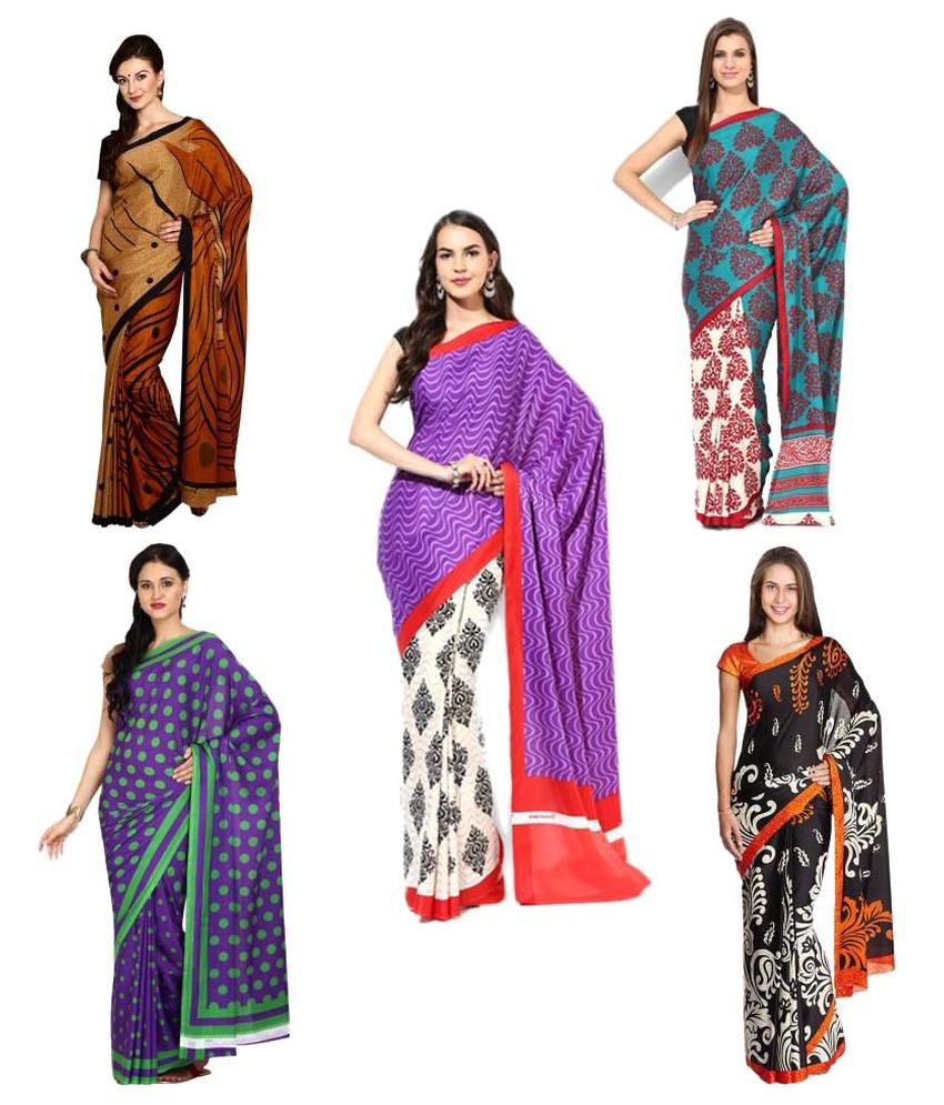 Aryahi Multicoloured Crepe Saree Combos