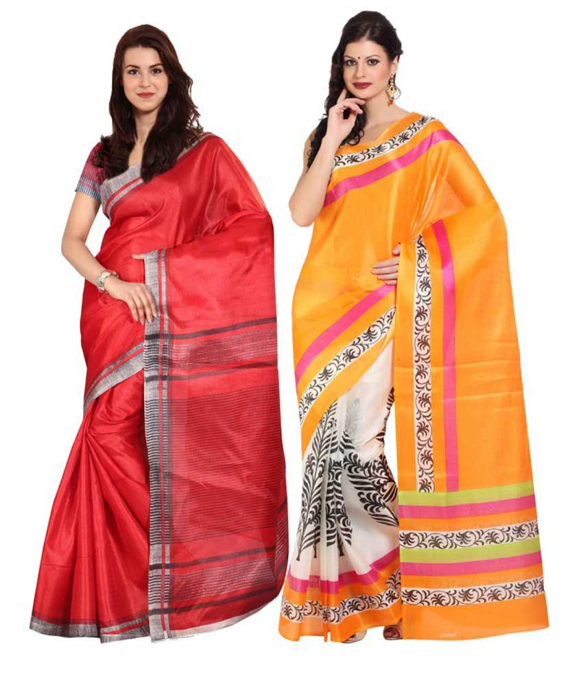 Aryahi Red Art Silk Saree Combos