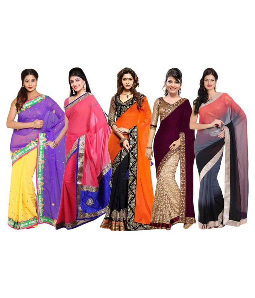 Parchayee Multicoloured Velvet Saree Combos
