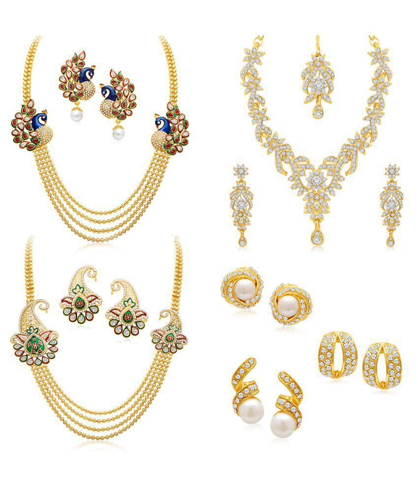 Sukkhi Combo of Three Golden Alloy Necklace Set with Three Earrings