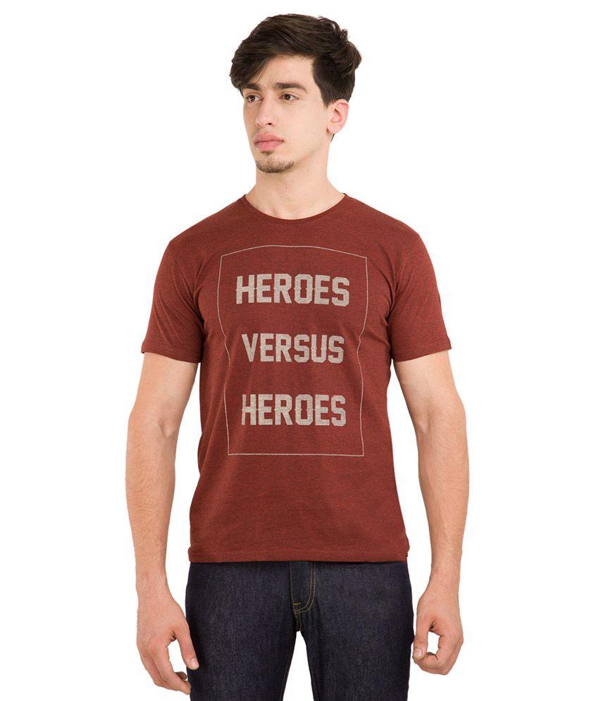 Locomotive Red Round Neck T Shirt