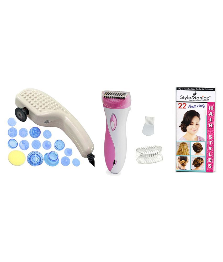Style Maniac Combo of 19 In 1 Full Body Massager And Epilator Ak-2002  and a ultimate hair style booklet FREE  Epilator ( Pink )