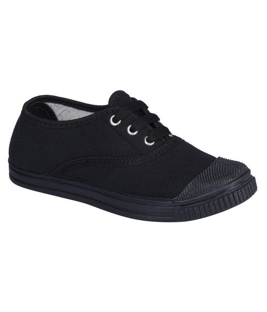 Buy Skovin Black Canvas School Shoes