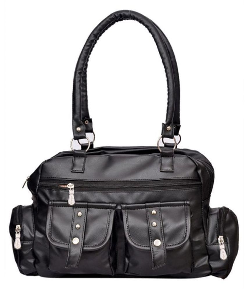 Sr Sales Black Faux Leather Shoulder Bag