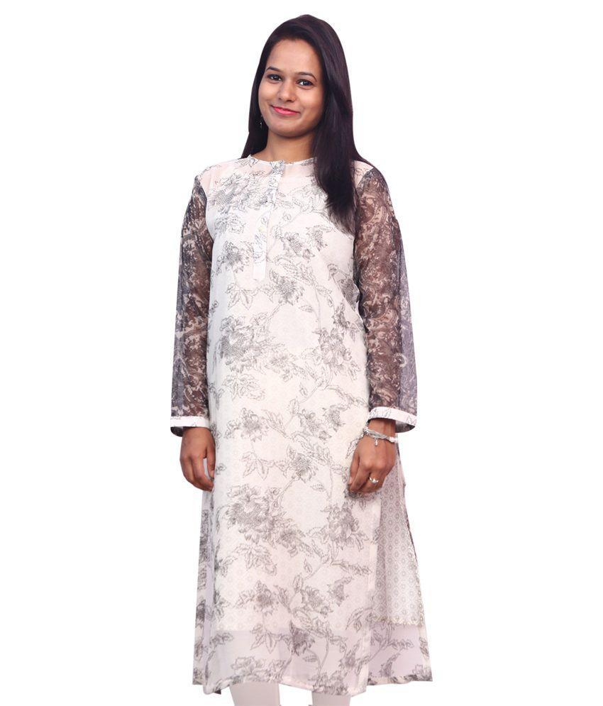 Inaya Fashion White Chiffon Straight Kurti