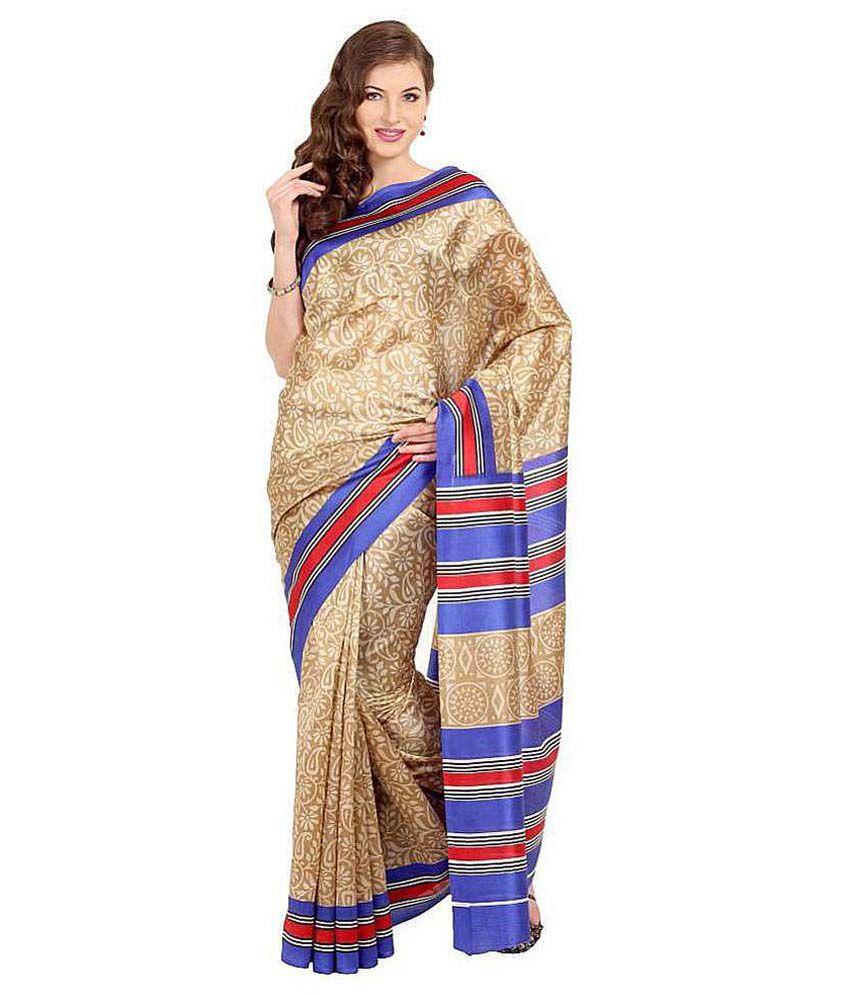 Parchayee Beige Art Silk Saree