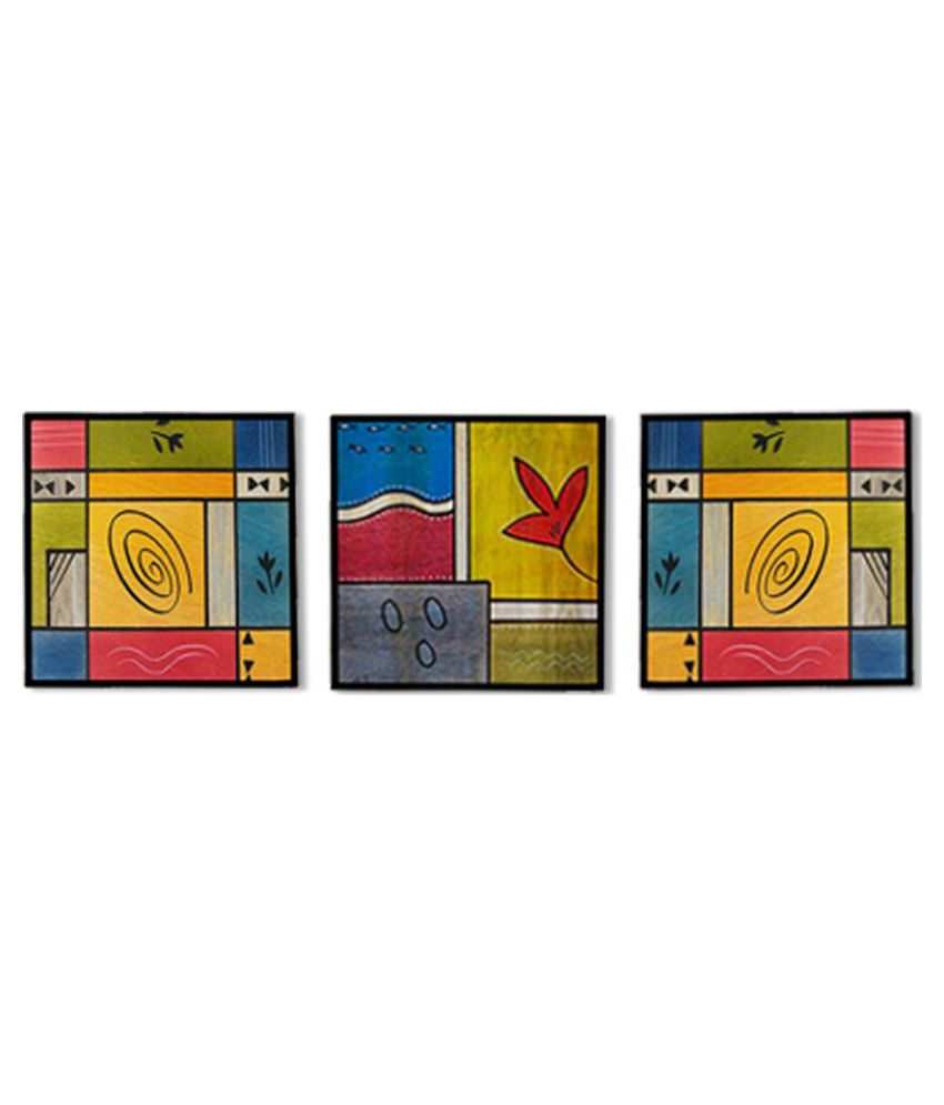 Rang Rage Handpainted Art Panel  Wood Hand Paintings Without Frame 3 Combination