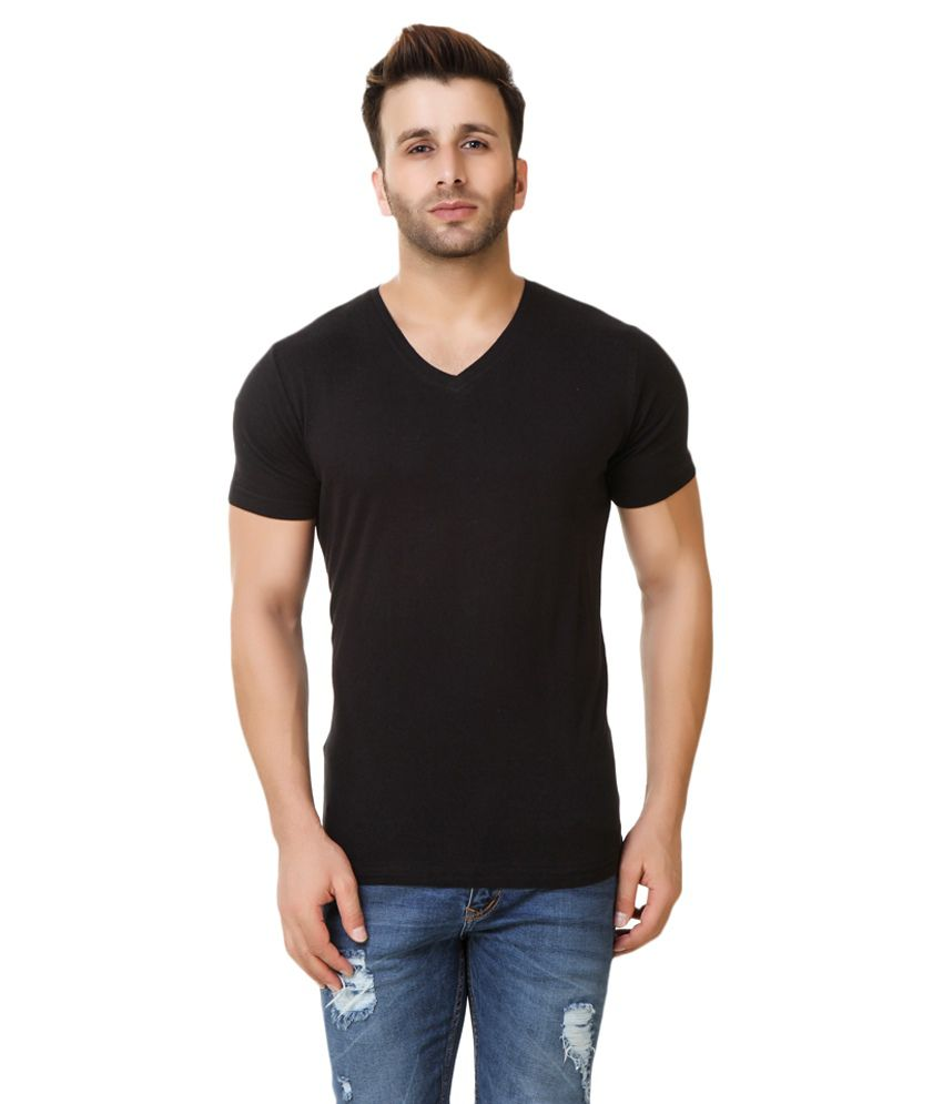 Fabstone Collection Black V-Neck T-Shirt