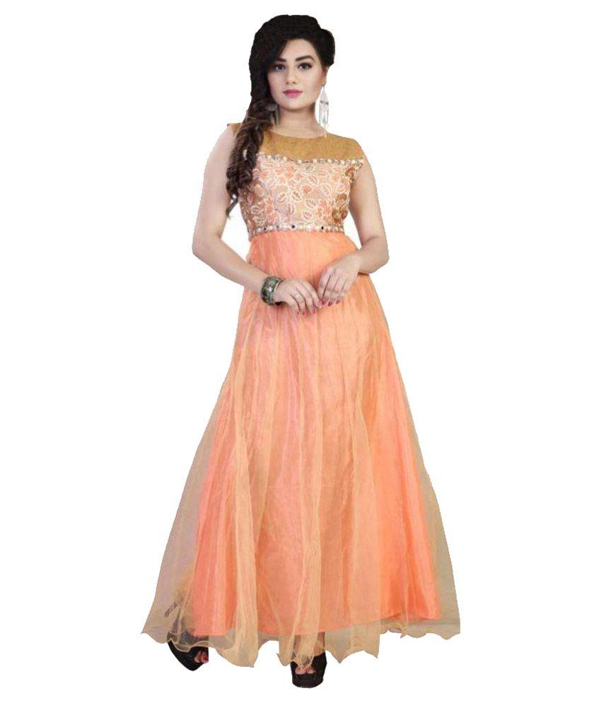 Kmozi Orange Net Anarkali Salwar Suit