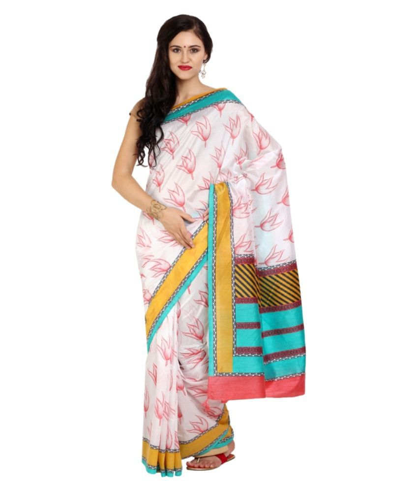 Parchayee White Synthetic Saree